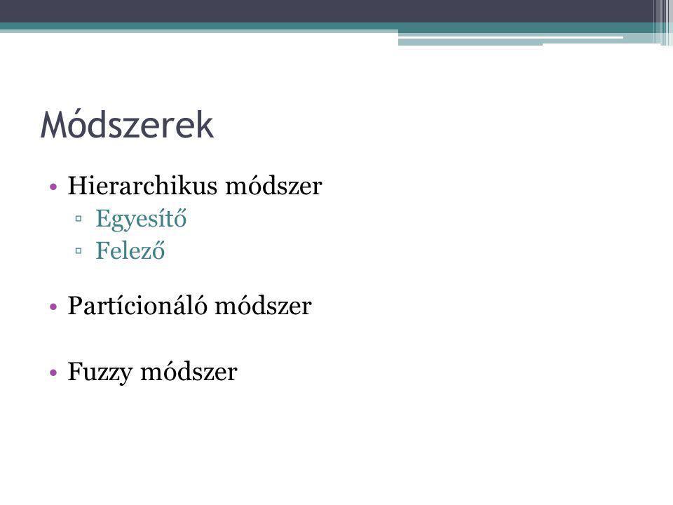 Módszerek Hierarchikus módszer ▫Egyesítő ▫Felező Partícionáló módszer Fuzzy módszer