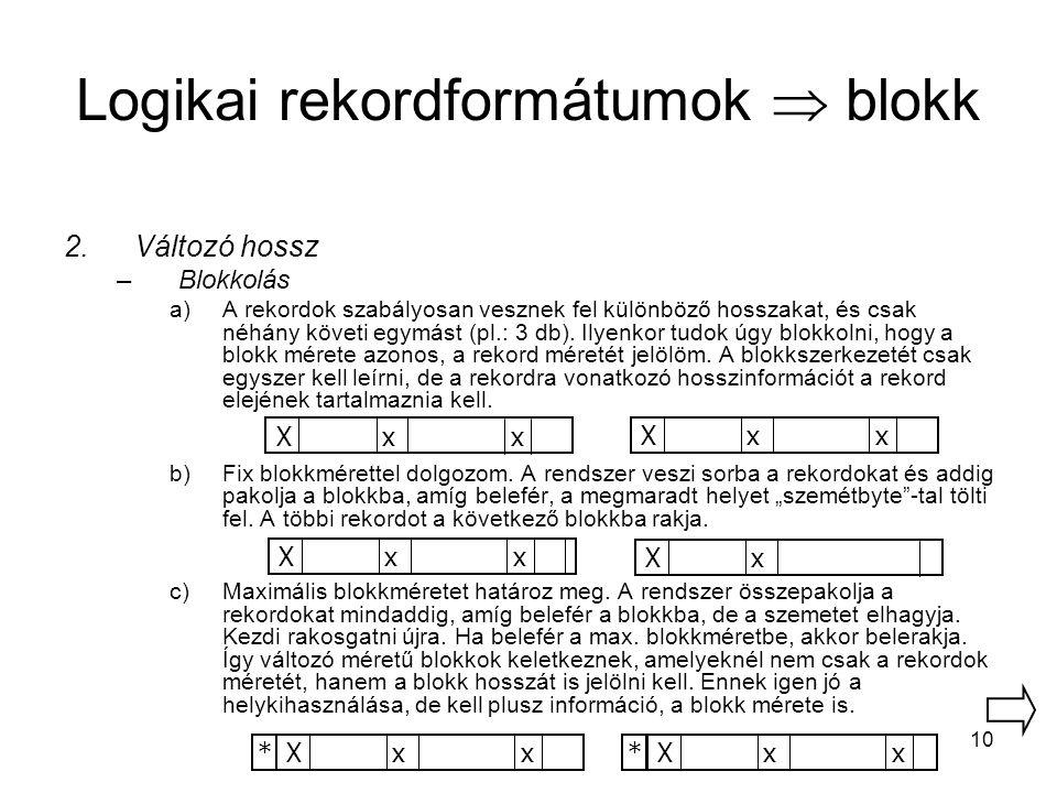 10 Logikai rekordformátumok  blokk 2.Változó hossz –Blokkolás a)A rekordok szabályosan vesznek fel különböző hosszakat, és csak néhány követi egymást