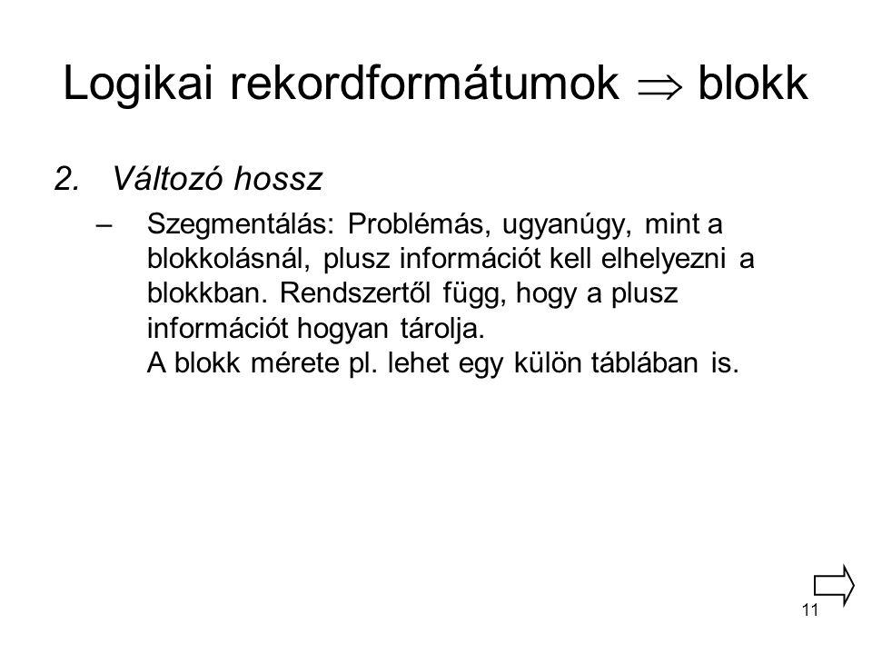 11 Logikai rekordformátumok  blokk 2.Változó hossz –Szegmentálás: Problémás, ugyanúgy, mint a blokkolásnál, plusz információt kell elhelyezni a blokk