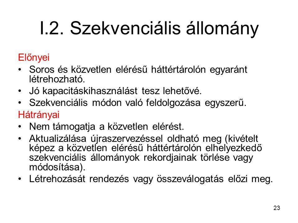 23 I.2. Szekvenciális állomány Előnyei Soros és közvetlen elérésű háttértárolón egyaránt létrehozható. Jó kapacitáskihasználást tesz lehetővé. Szekven