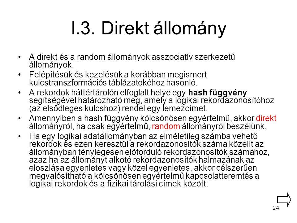 24 I.3. Direkt állomány A direkt és a random állományok asszociatív szerkezetű állományok. Felépítésük és kezelésük a korábban megismert kulcstranszfo
