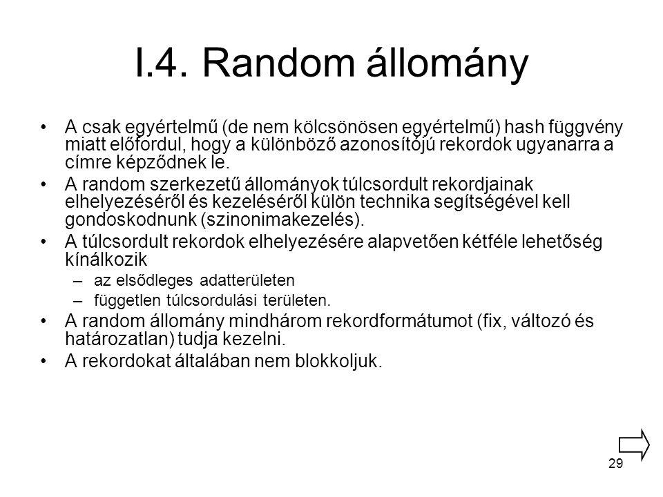 29 I.4. Random állomány A csak egyértelmű (de nem kölcsönösen egyértelmű) hash függvény miatt előfordul, hogy a különböző azonosítójú rekordok ugyanar