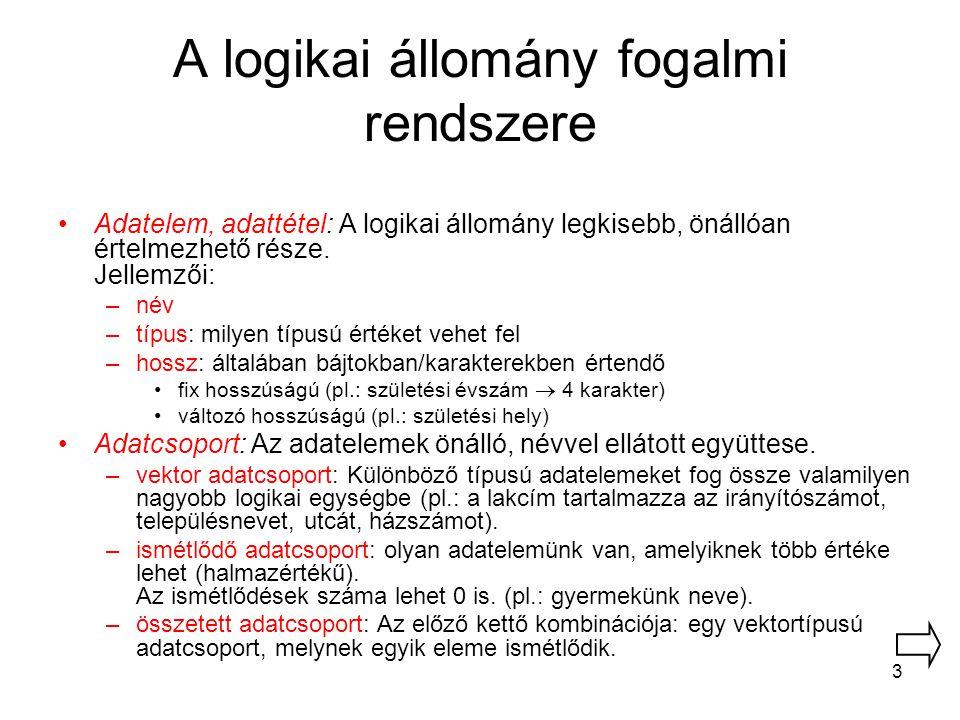 3 A logikai állomány fogalmi rendszere Adatelem, adattétel: A logikai állomány legkisebb, önállóan értelmezhető része. Jellemzői: –név –típus: milyen