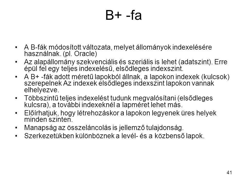 41 B+ -fa A B-fák módosított változata, melyet állományok indexelésére használnak. (pl. Oracle) Az alapállomány szekvenciális és szeriális is lehet (a