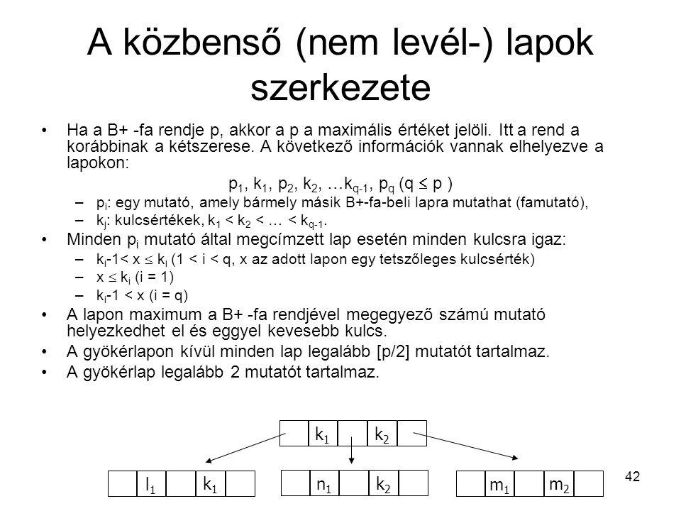 42 A közbenső (nem levél-) lapok szerkezete Ha a B+ -fa rendje p, akkor a p a maximális értéket jelöli. Itt a rend a korábbinak a kétszerese. A követk