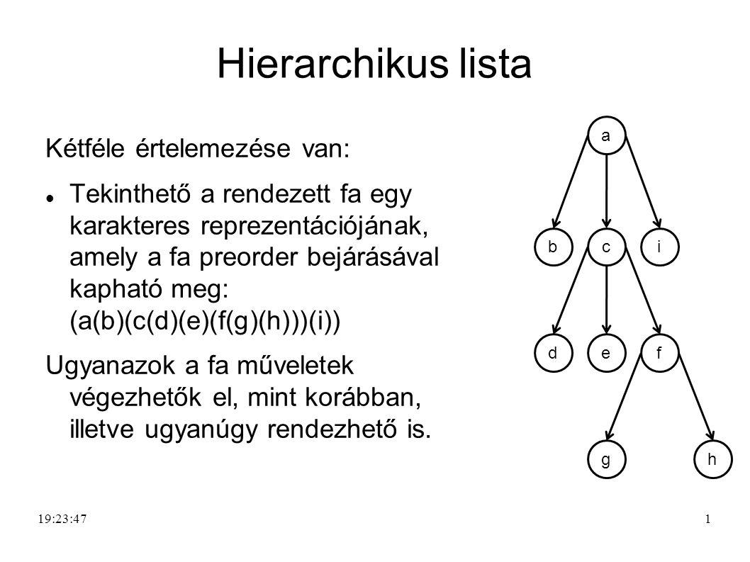 1 Hierarchikus lista Kétféle értelemezése van: Tekinthető a rendezett fa egy karakteres reprezentációjának, amely a fa preorder bejárásával kapható me