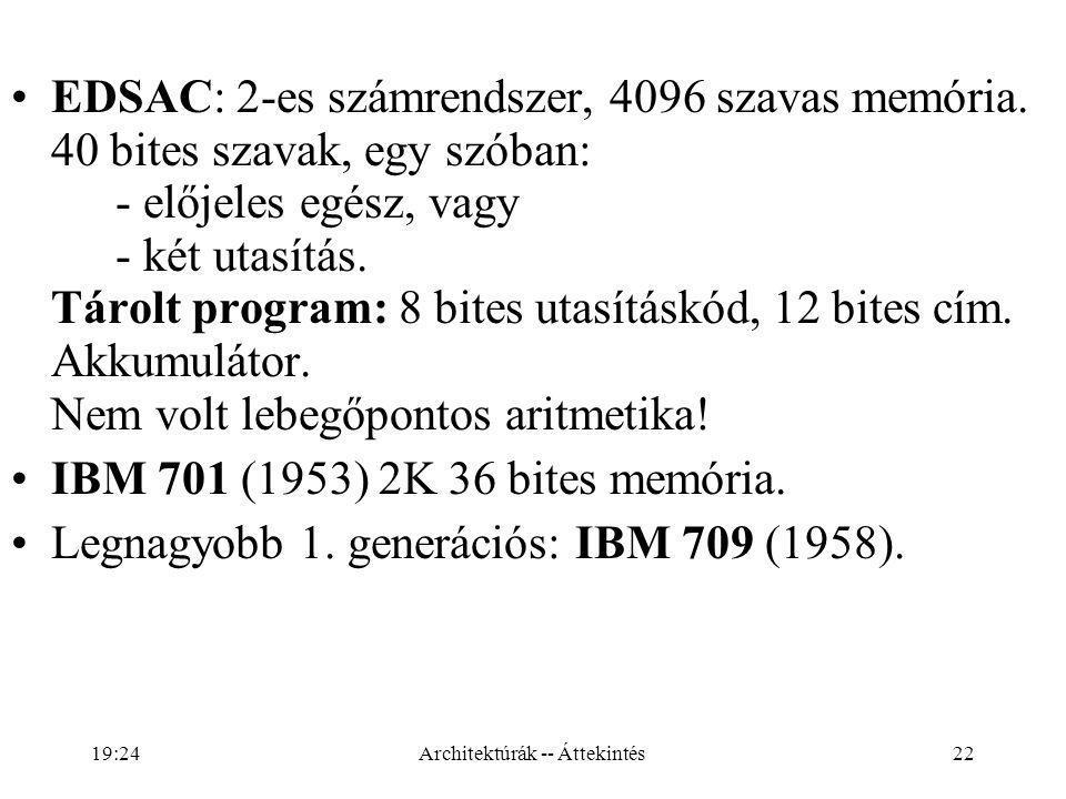 22 EDSAC: 2-es számrendszer, 4096 szavas memória.