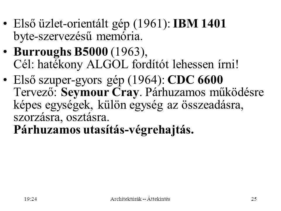 25 Első üzlet-orientált gép (1961): IBM 1401 byte-szervezésű memória.