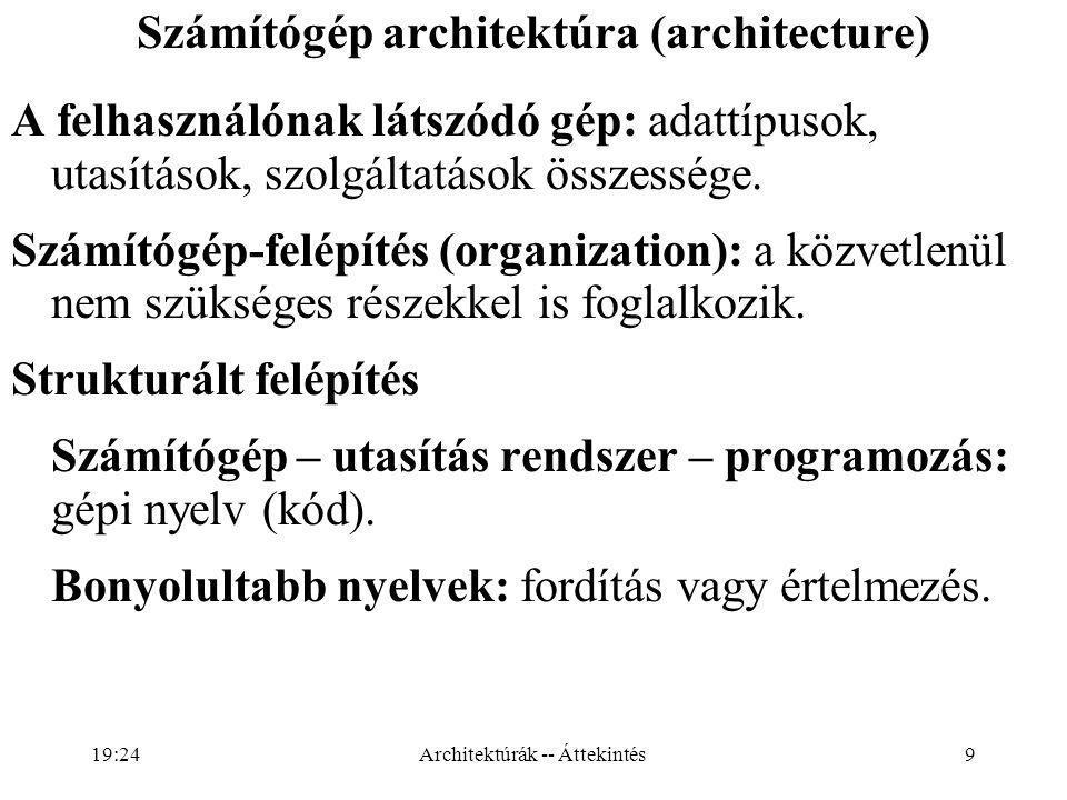 9 Számítógép architektúra (architecture) A felhasználónak látszódó gép: adattípusok, utasítások, szolgáltatások összessége.