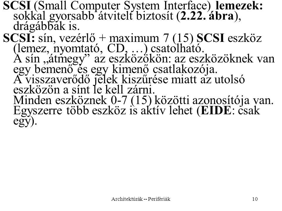 10 SCSI (Small Computer System Interface) lemezek: sokkal gyorsabb átvitelt biztosít (2.22.