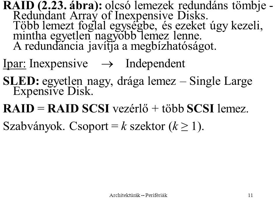 11 RAID (2.23.ábra): olcsó lemezek redundáns tömbje - Redundant Array of Inexpensive Disks.