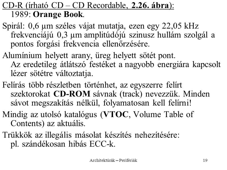 19 CD-R (írható CD – CD Recordable, 2.26.ábra): 1989: Orange Book.