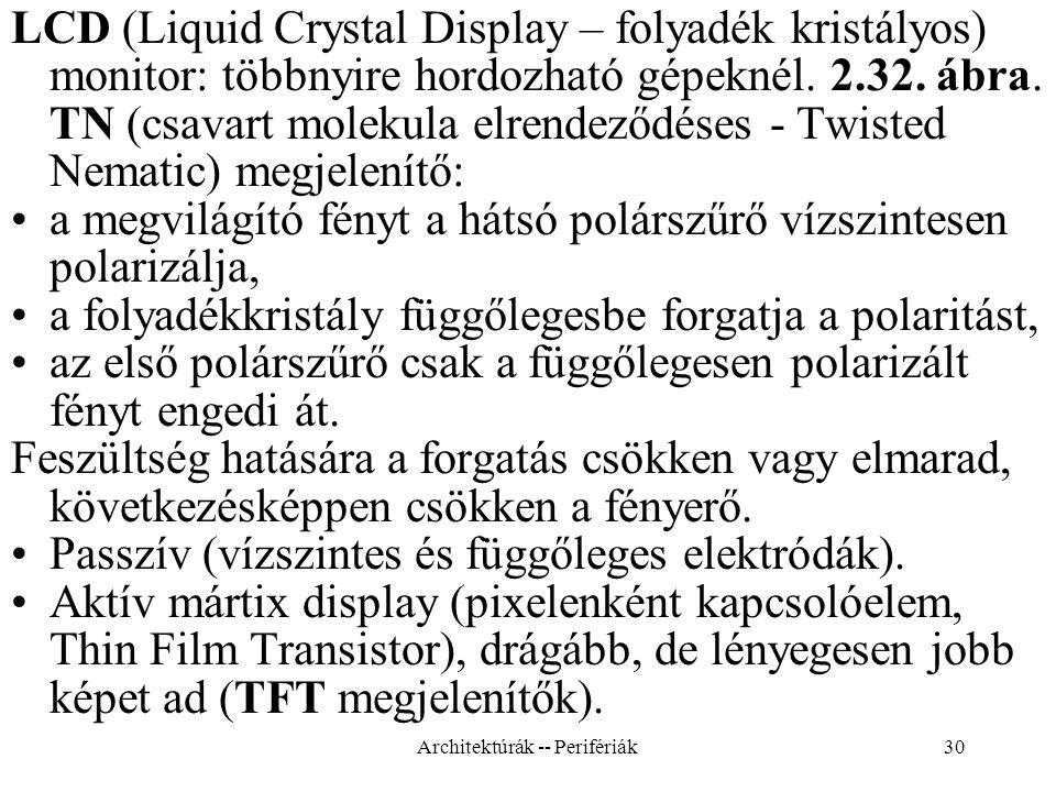 30 LCD (Liquid Crystal Display – folyadék kristályos) monitor: többnyire hordozható gépeknél.