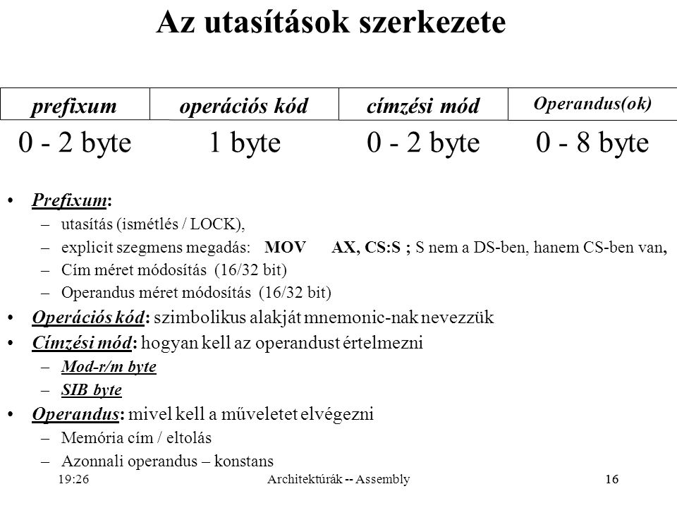 16 Az utasítások szerkezete Prefixum: –utasítás (ismétlés / LOCK), –explicit szegmens megadás:MOVAX, CS:S ; S nem a DS-ben, hanem CS-ben van, –Cím mér