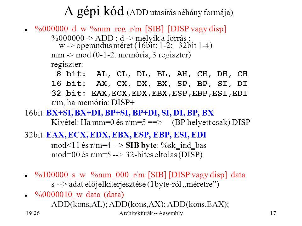 17 A gépi kód (ADD utasítás néhány formája) %000000_d_w %mm_reg_r/m [SIB] [DISP vagy disp] %000000 -> ADD ; d -> melyik a forrás ; w -> operandus mére