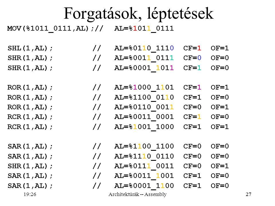 27 Forgatások, léptetések MOV(%1011_0111,AL);//AL=%1011_0111 SHL(1,AL); //AL=%0110_1110 CF=1 OF=1 SHR(1,AL); //AL=%0011_0111 CF=0 OF=0 SHR(1,AL); //AL