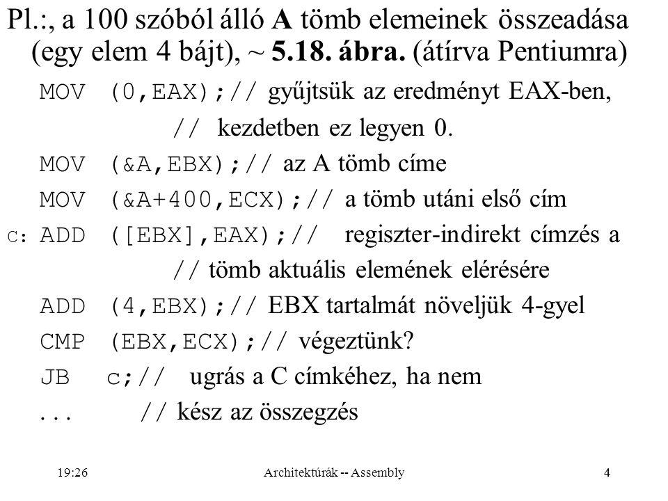 25 Logikai utasítások OR(forrás,cél); XOR(forrás,cél); AND(forrás, cél); TEST(forrás,cél);// TEST(AL,AL); TEST(8,AL) PF, ZF, SF: értelemszerűen CF=OF=0 AF: határozatlan NOT(cél); // Minden flag változatlan Architektúrák -- Assembly19:28