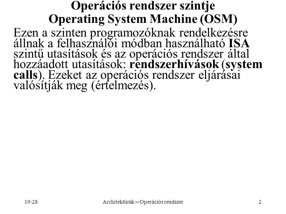 2 Operációs rendszer szintje Operating System Machine (OSM) Ezen a szinten programozóknak rendelkezésre állnak a felhasználói módban használható ISA s