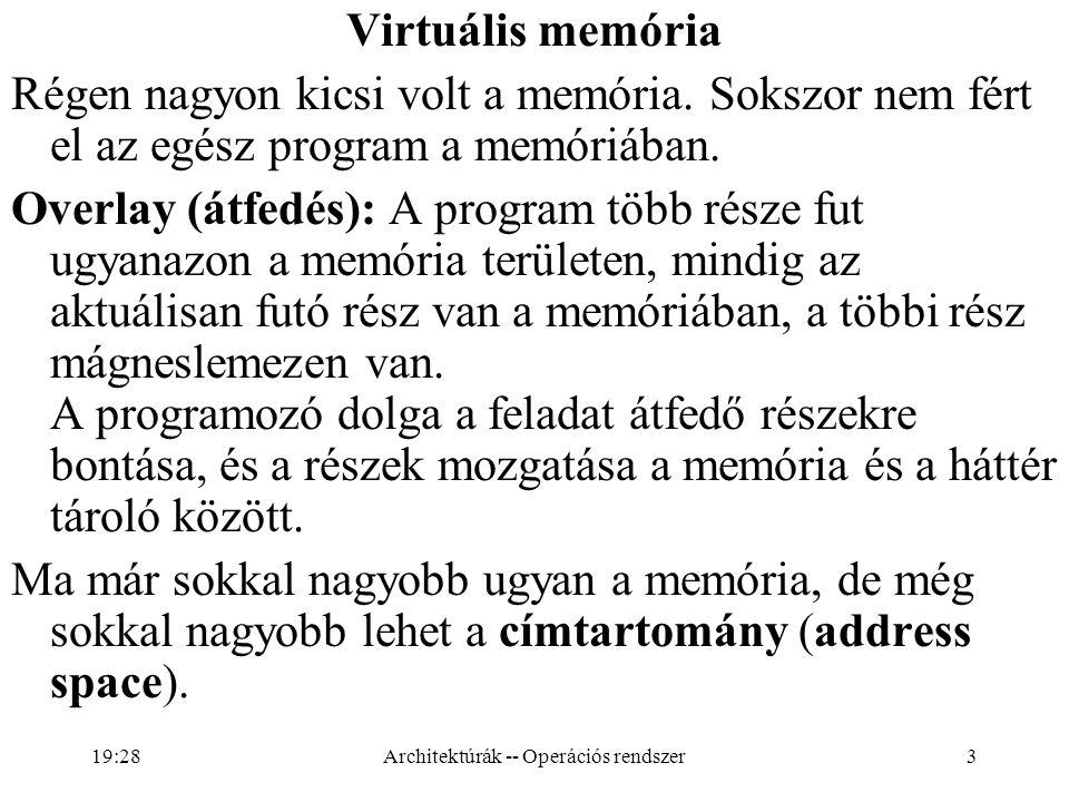 3 Virtuális memória Régen nagyon kicsi volt a memória. Sokszor nem fért el az egész program a memóriában. Overlay (átfedés): A program több része fut