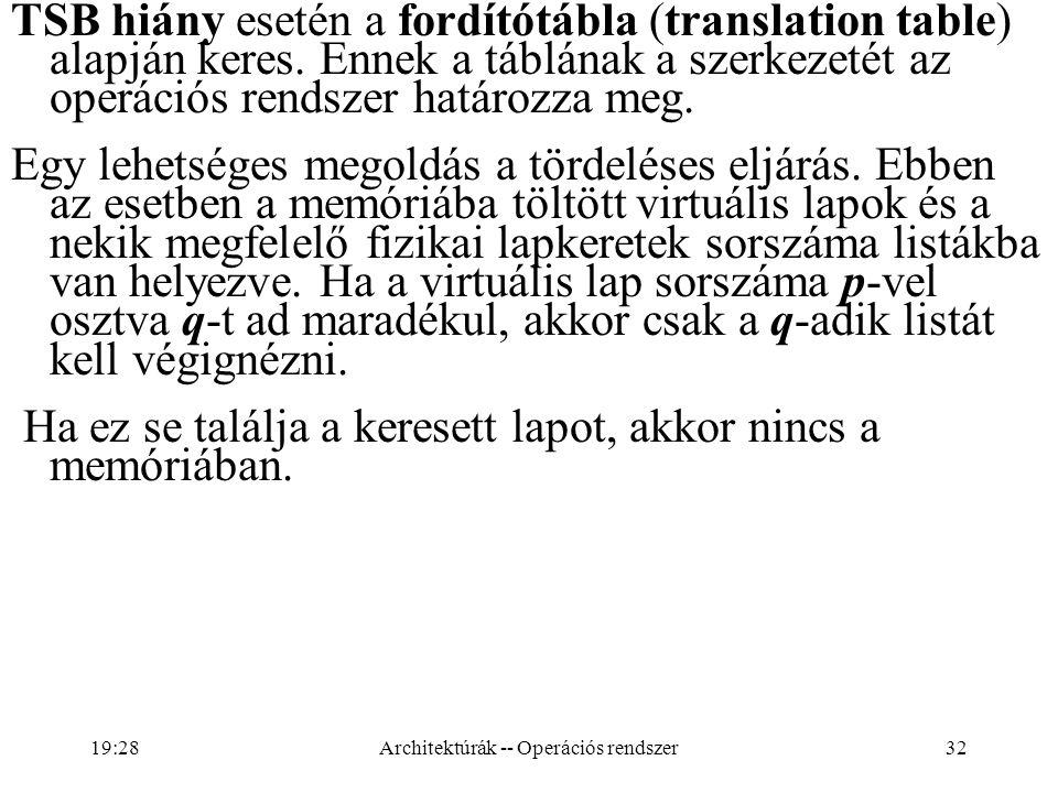 32 TSB hiány esetén a fordítótábla (translation table) alapján keres. Ennek a táblának a szerkezetét az operációs rendszer határozza meg. Egy lehetség