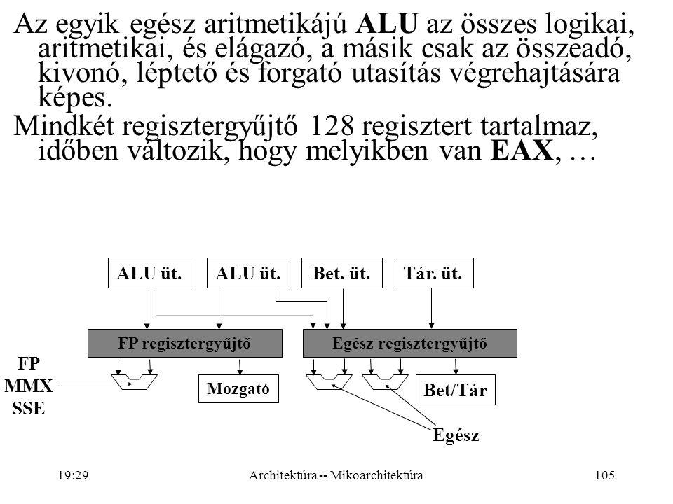 105 Az egyik egész aritmetikájú ALU az összes logikai, aritmetikai, és elágazó, a másik csak az összeadó, kivonó, léptető és forgató utasítás végrehajtására képes.