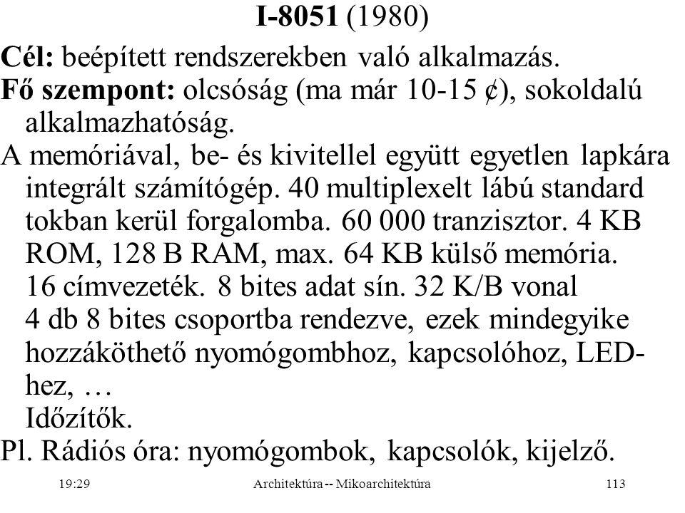 113 I-8051 (1980) Cél: beépített rendszerekben való alkalmazás.