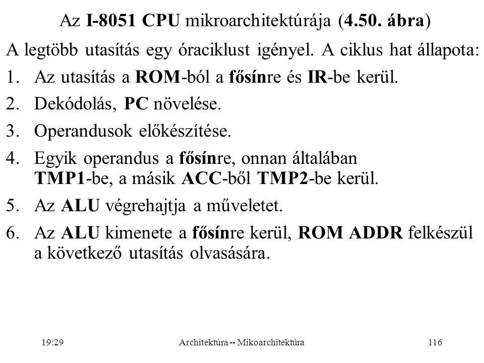 116 Az I-8051 CPU mikroarchitektúrája (4.50.ábra) A legtöbb utasítás egy óraciklust igényel.