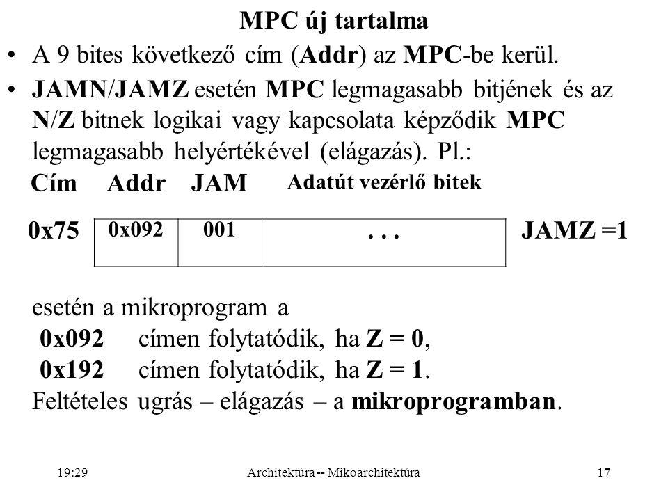17 MPC új tartalma A 9 bites következő cím (Addr) az MPC-be kerül.