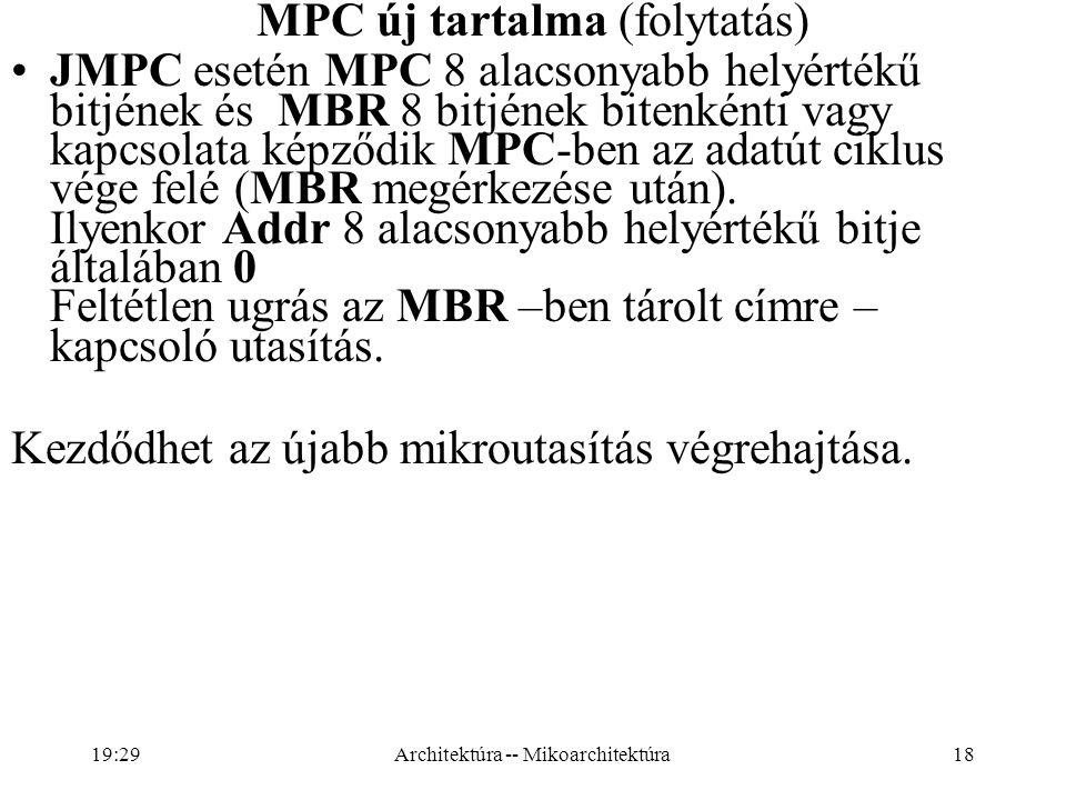 18 MPC új tartalma (folytatás) JMPC esetén MPC 8 alacsonyabb helyértékű bitjének és MBR 8 bitjének bitenkénti vagy kapcsolata képződik MPC-ben az adatút ciklus vége felé (MBR megérkezése után).