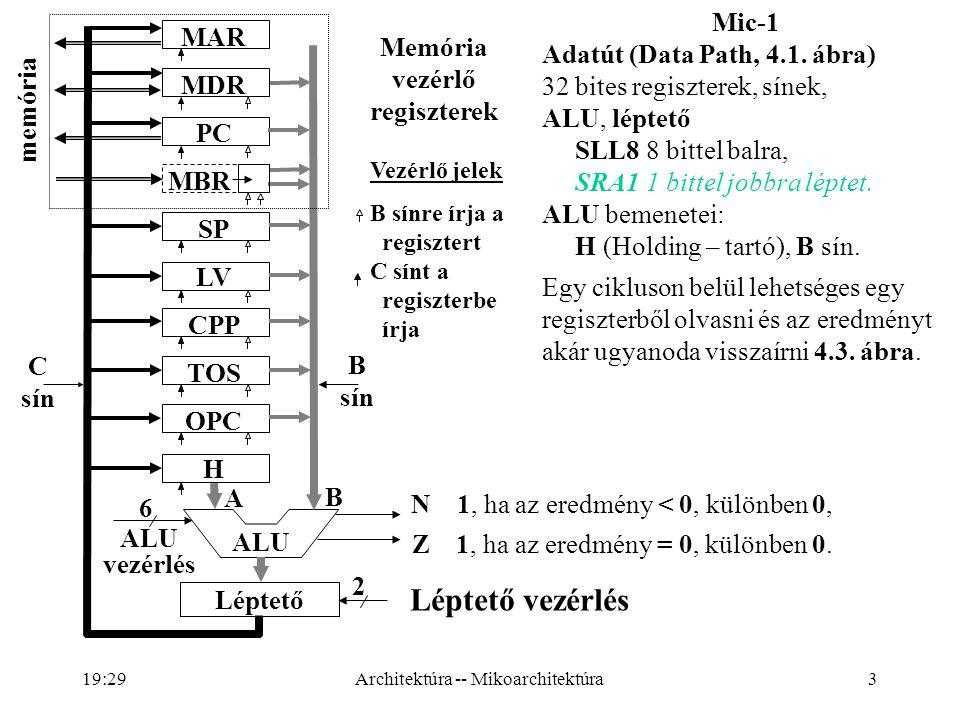 3 Léptető vezérlés 6 2 ALU vezérlés A B N 1, ha az eredmény < 0, különben 0, Z 1, ha az eredmény = 0, különben 0.