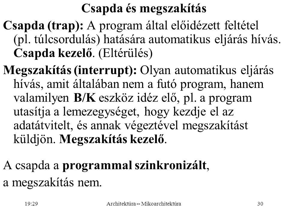 30 Csapda és megszakítás Csapda (trap): A program által előidézett feltétel (pl.