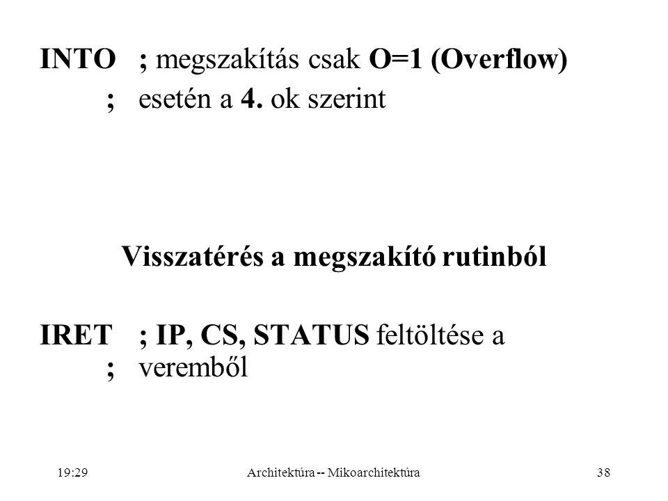 38 INTO; megszakítás csak O=1 (Overflow) ; esetén a 4.