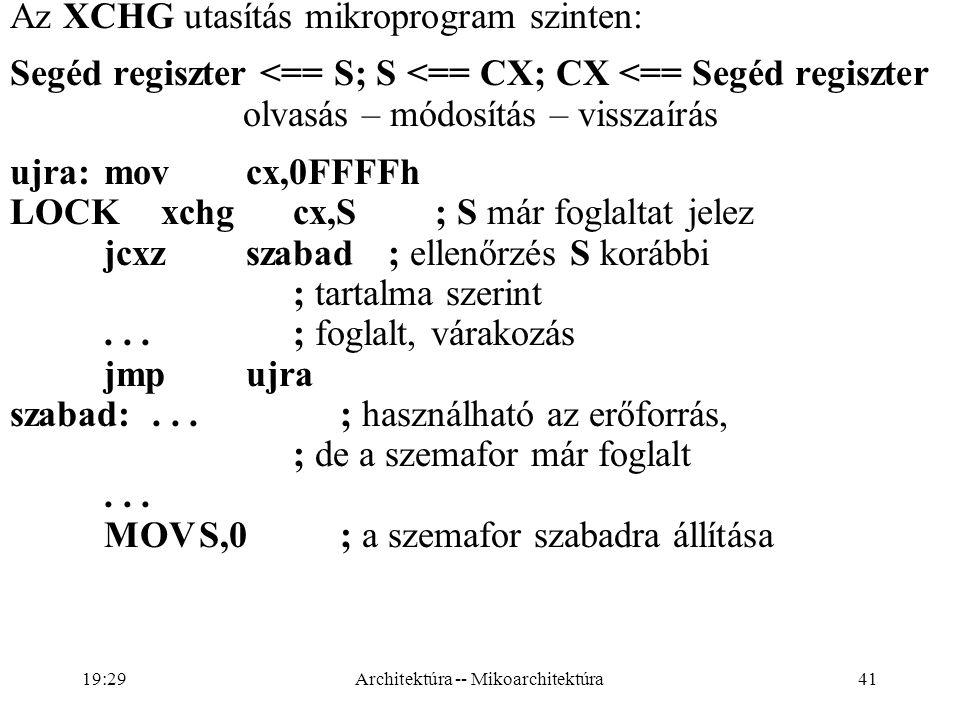 41 Az XCHG utasítás mikroprogram szinten: Segéd regiszter <== S; S <== CX; CX <== Segéd regiszter olvasás – módosítás – visszaírás ujra:movcx,0FFFFh LOCK xchgcx,S; S már foglaltat jelez jcxzszabad; ellenőrzés S korábbi ; tartalma szerint...; foglalt, várakozás jmpujra szabad:...; használható az erőforrás, ; de a szemafor már foglalt...