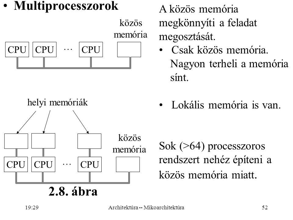 52 Multiprocesszorok CPU … közös memória A közös memória megkönnyíti a feladat megosztását.