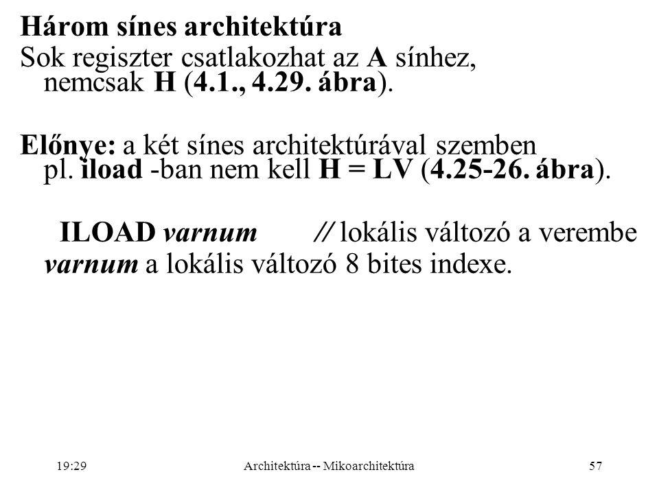 57 Három sínes architektúra Sok regiszter csatlakozhat az A sínhez, nemcsak H (4.1., 4.29.
