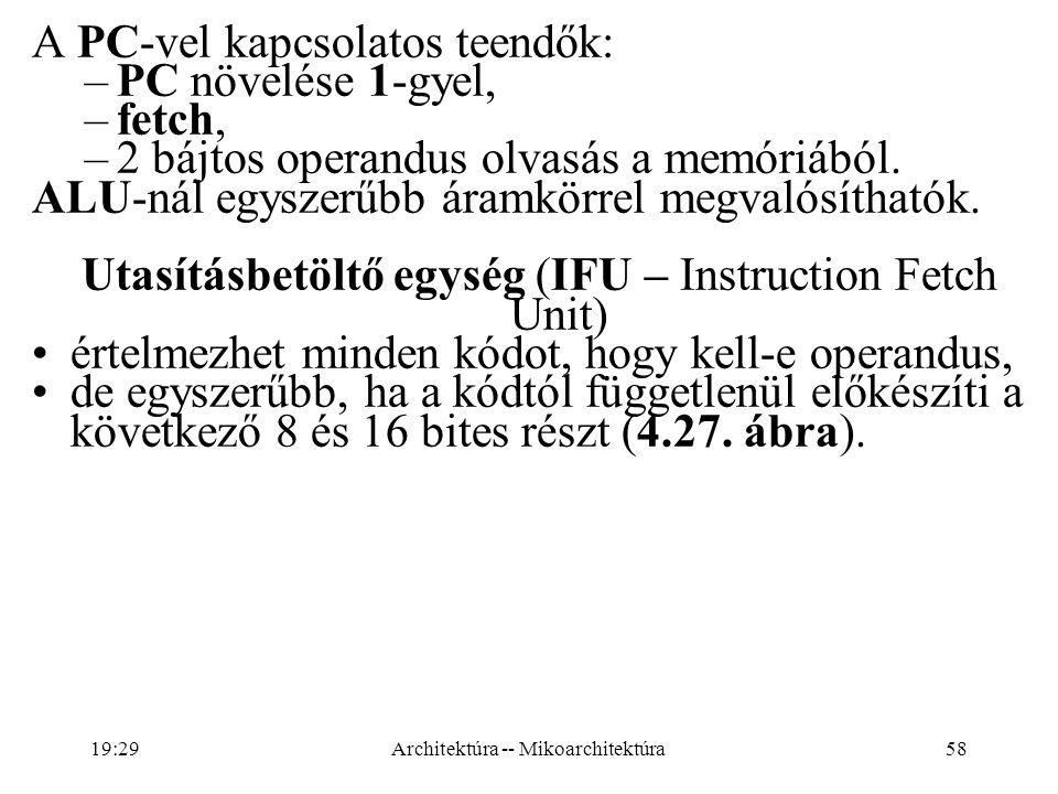 58 A PC-vel kapcsolatos teendők: –PC növelése 1-gyel, –fetch, –2 bájtos operandus olvasás a memóriából.