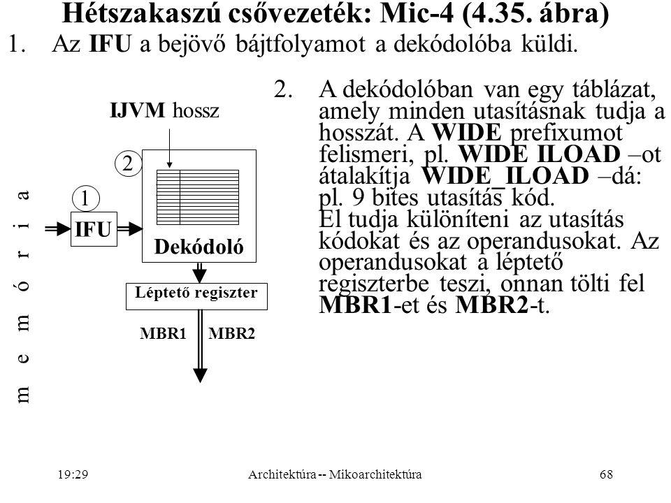 68 Hétszakaszú csővezeték: Mic-4 (4.35.ábra) 1.Az IFU a bejövő bájtfolyamot a dekódolóba küldi.