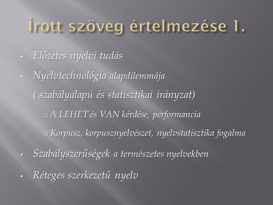 Nyelvtechnológia alapvető leírási szintjei: Nyelvtechnológia alapvető leírási szintjei: o Számítógépes morfológia Egyértelműsítés művelete Egyértelműsítés művelete Szófaji címkézés fogalma Szófaji címkézés fogalma o Számítógépes szintaxis Főnévi csoport Főnévi csoport Nyelvtan fogalma Nyelvtan fogalma Nyelv számítógépes modellezésének minősége Nyelv számítógépes modellezésének minősége o A fedés és pontosság fogalma Jelentés egyértelműsítés Jelentés egyértelműsítés o Információkeresés vs.