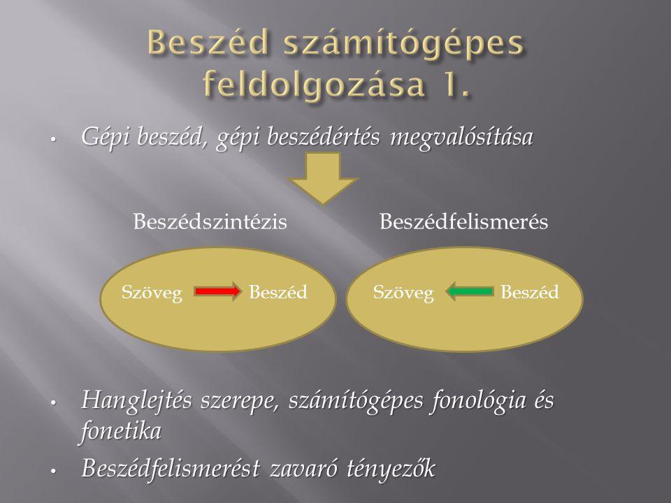 Gépi beszéd, gépi beszédértés megvalósítása Gépi beszéd, gépi beszédértés megvalósítása Hanglejtés szerepe, számítógépes fonológia és fonetika Hanglejtés szerepe, számítógépes fonológia és fonetika Beszédfelismerést zavaró tényezők Beszédfelismerést zavaró tényezők BeszédszintézisBeszédfelismerés Szöveg Beszéd