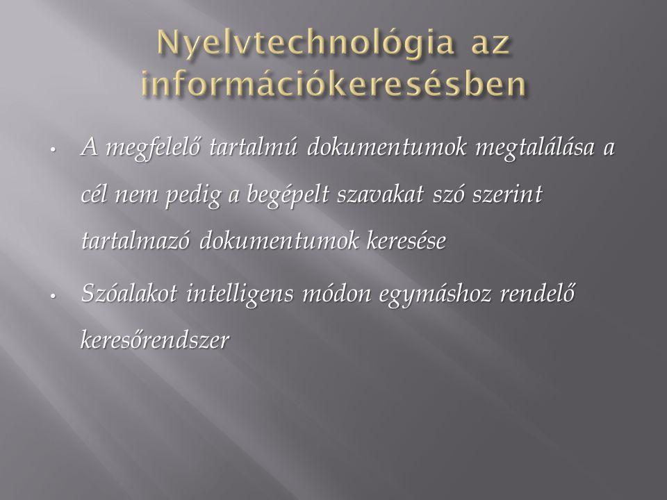 A megfelelő tartalmú dokumentumok megtalálása a cél nem pedig a begépelt szavakat szó szerint tartalmazó dokumentumok keresése A megfelelő tartalmú do
