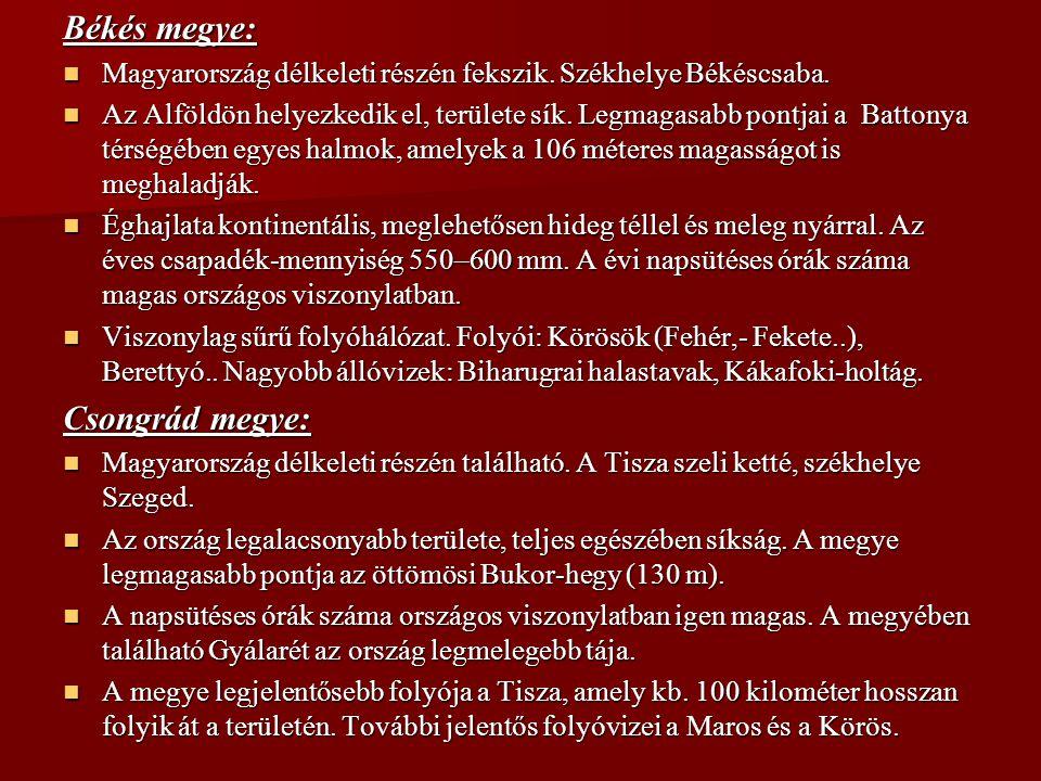 Békés megye: Magyarország délkeleti részén fekszik. Székhelye Békéscsaba. Magyarország délkeleti részén fekszik. Székhelye Békéscsaba. Az Alföldön hel