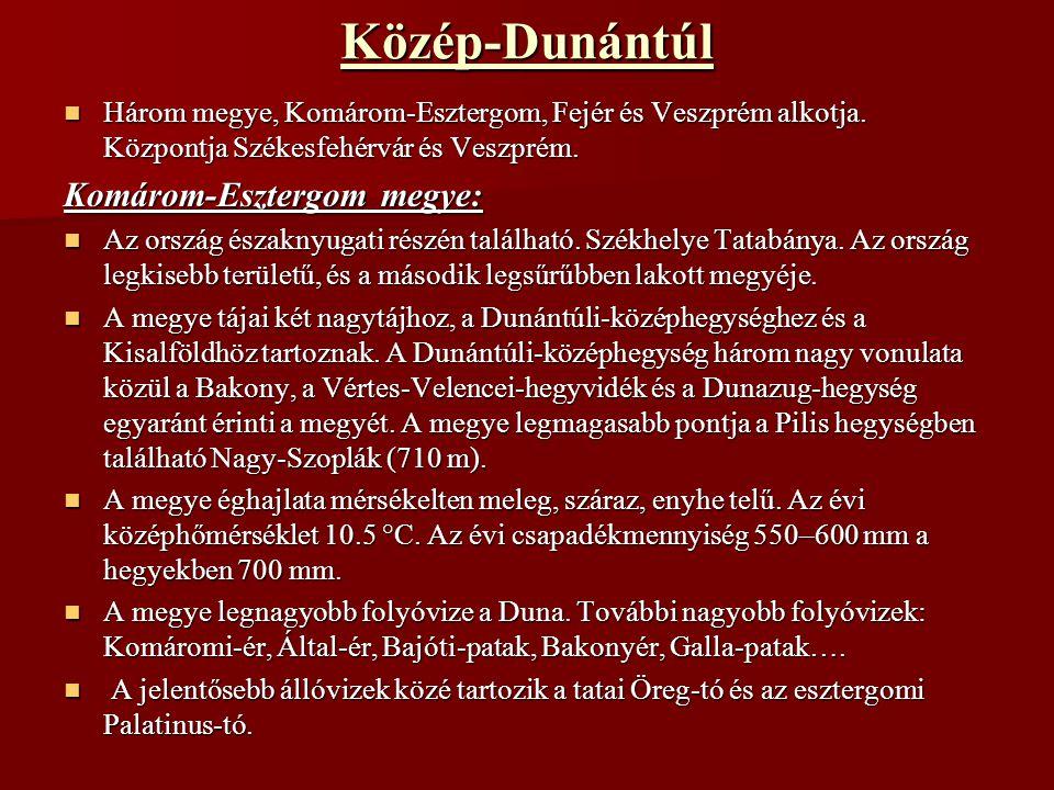 Közép-Dunántúl Három megye, Komárom-Esztergom, Fejér és Veszprém alkotja. Központja Székesfehérvár és Veszprém. Három megye, Komárom-Esztergom, Fejér