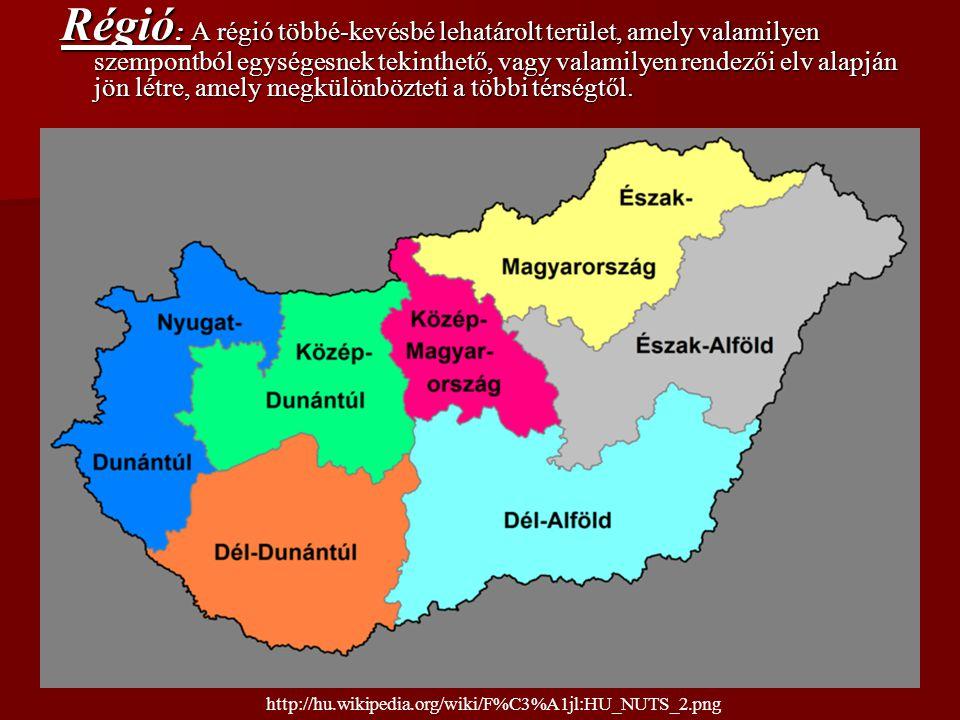 Régió : A régió többé-kevésbé lehatárolt terület, amely valamilyen szempontból egységesnek tekinthető, vagy valamilyen rendezői elv alapján jön létre,