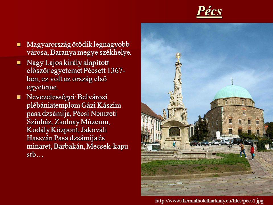 Pécs Magyarország ötödik legnagyobb városa, Baranya megye székhelye. Magyarország ötödik legnagyobb városa, Baranya megye székhelye. Nagy Lajos király