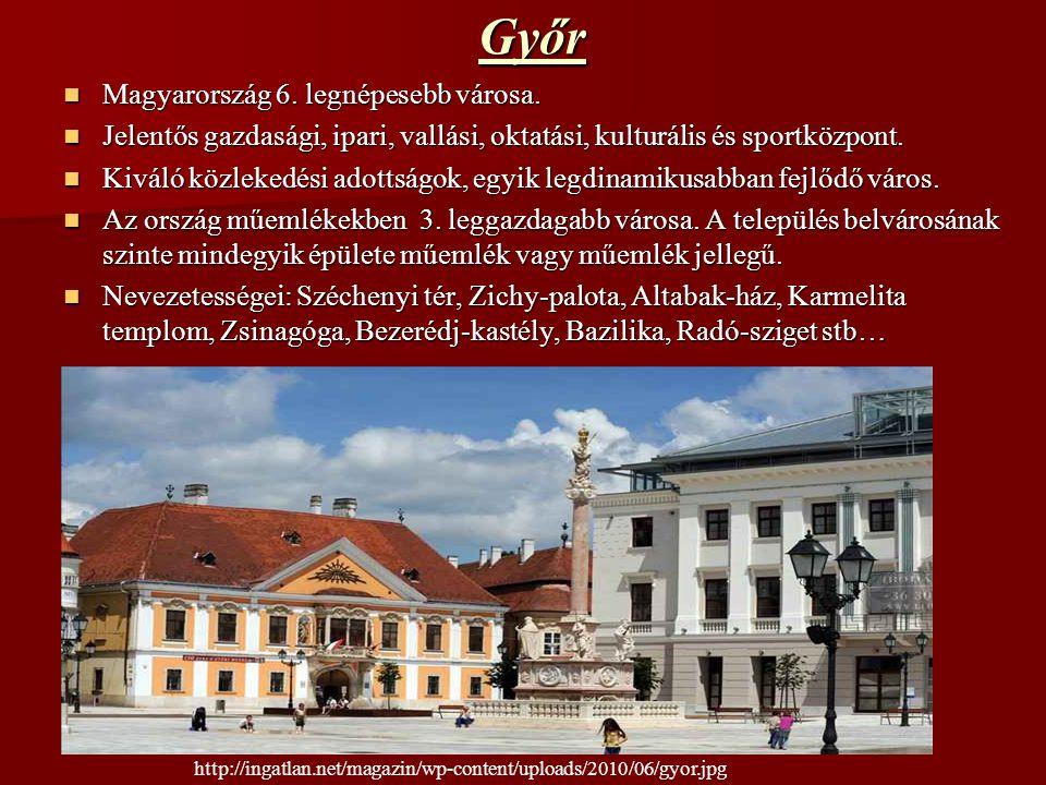 Győr Magyarország 6. legnépesebb városa. Magyarország 6. legnépesebb városa. Jelentős gazdasági, ipari, vallási, oktatási, kulturális és sportközpont.