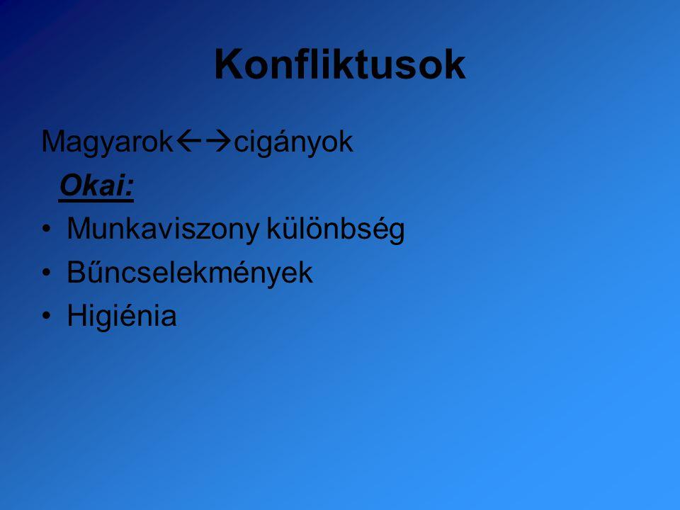 Konfliktusok Magyarok  cigányok Okai: Munkaviszony különbség Bűncselekmények Higiénia