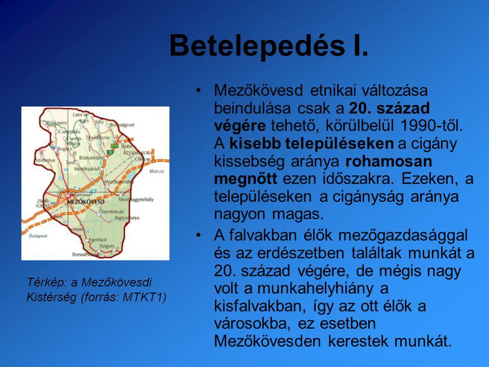 Betelepedés I. Mezőkövesd etnikai változása beindulása csak a 20. század végére tehető, körülbelül 1990-től. A kisebb településeken a cigány kissebség
