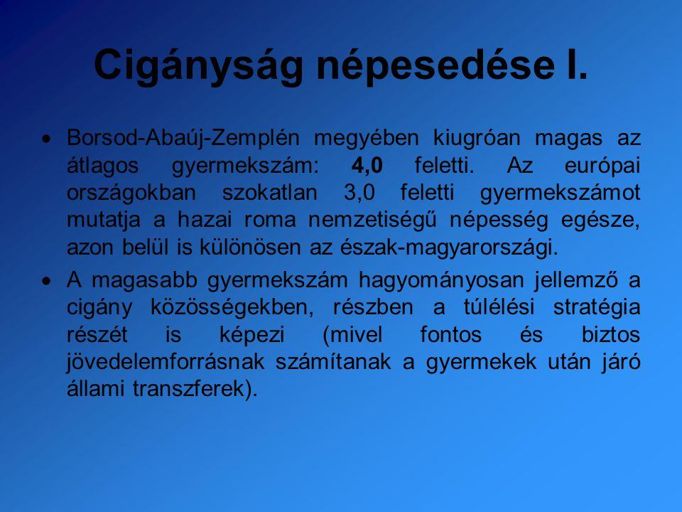 Cigányság népesedése I.  Borsod-Abaúj-Zemplén megyében kiugróan magas az átlagos gyermekszám: 4,0 feletti. Az európai országokban szokatlan 3,0 felet