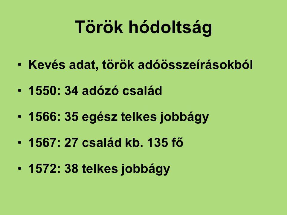 Török hódoltság Kevés adat, török adóösszeírásokból 1550: 34 adózó család 1566: 35 egész telkes jobbágy 1567: 27 család kb. 135 fő 1572: 38 telkes job