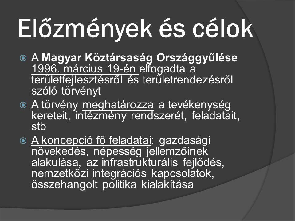 Előzmények és célok  A Magyar Köztársaság Országgyűlése 1996. március 19-én elfogadta a területfejlesztésről és területrendezésről szóló törvényt  A